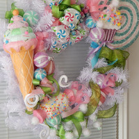 Christmas Wreath- Seasonal Wreath- Candy Sweet Treats Wreath-Winter Wreath- Christmas Décor- Front Door Wreath- Holiday Wreath- Etsy Wreath