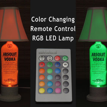 Absolut Vodka Color Changing LED Remote Controlled Eco Friendly rgb LED Bottle Lamp/Bar Light -W/Shade- Intense Sparkle-Bodacious Bottles-