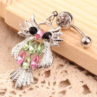 Women's Owl Pendant Girl Belly Button Ring