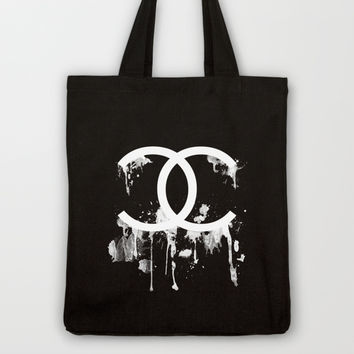 BLACK & WHITE CHANEL DRIP Tote Bag by natalie sales
