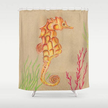 Seahorse Shower Curtain - Tan Seahorse -  undersea, coral reef,  earth tones, subtle coastal decor