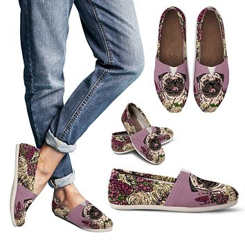 Illustrated Pug Casual Shoes
