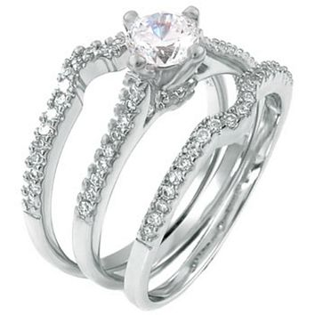 Sterling Silver Brilliant Cut Wedding 3 Ring Set CZ Engagement and Band size 5-9