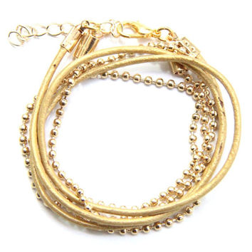 Arm wrap - 3 times- leather and 24k gold plated chain