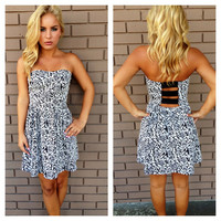 Black Rose Print Strapless Dress