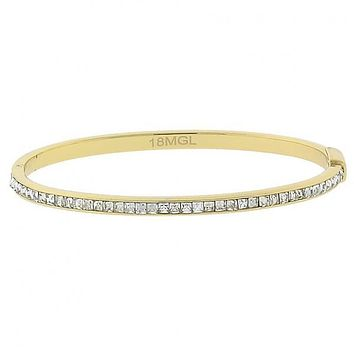 Gold Layered 5.230.006 Individual Bangle, with White Cubic Zirconia, Polished Finish, Golden Tone (04 MM Thickness, Size 5 - 2.50 Diameter)