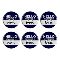 Ivan Hello My Name Is Plastic Resin Button Set of 6