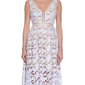 Floral-lace midi dress | self-portrait | MATCHESFASHION.COM US