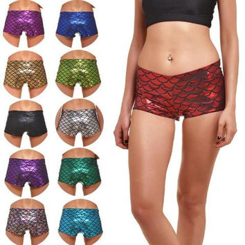 Plus size 4 XL Sexy scale print Yoga fitness sports hot pants