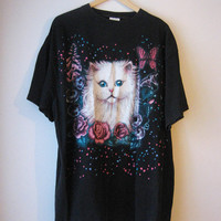 VTG Cat Roses Hearts Butterfly Tshirt X-Large Large
