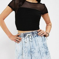 Silence & Noise Textured Mesh Cropped Top