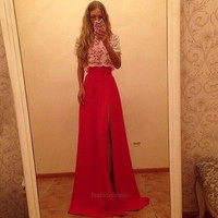 New Women's Ladies Sexy Short Sleeve White Lace Tops + Cocktail Party Prom Slim Fitting Sleeveless Red Long Dress Gown with Belt F_F = 1904717700