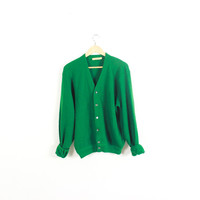 Vintage wool cardigan sweater.  Classic. Preppy. Oversized and slouchy. Wool cardigan. Kelly green. Large