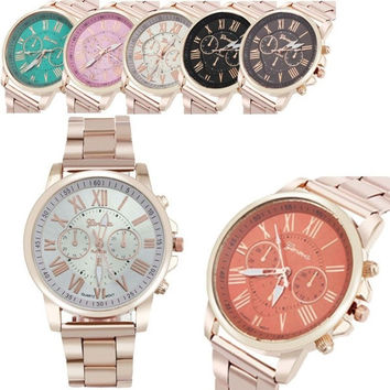 W@M Luxury Stylish Fashion Roman Number Geneva Stainless Steel Quartz Sports Dial Wrist Watch = 5987605377