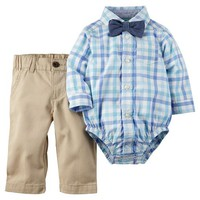 Baby Boy Carter's Plaid Button-Down Bodysuit & Pants Set