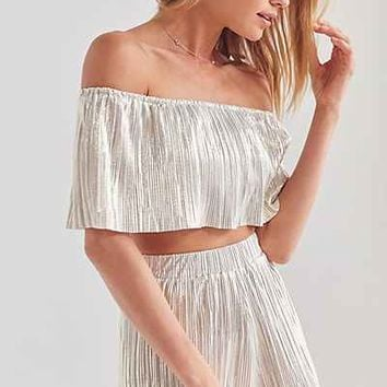 Oh My Love Metallic Accordion Pleat Off-The-Shoulder Set - Urban Outfitters