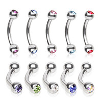 316L Surgical Steel Eyebrow Ring with Glass/Gem Ball