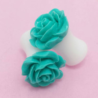 SALE (20% OFF!) Buy 2 Pairs/get 3rd FREE! Sea Green Small Flower Rose Plugs/gauges 10g 8g 6g 4g 2g 0g 00g 1/2 9/16