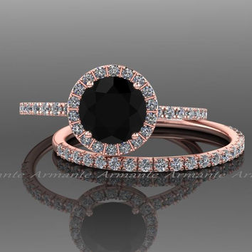 Black Diamond Engagement Set, 14k Rose Gold White Sapphire And Black Diamond Wedding Set Re00074rbk