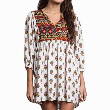 Umgee Printed Tunic Day Dress Aztec Boho