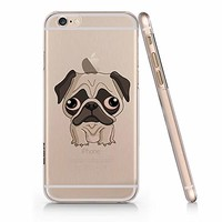 Cute Pug Dog Slim Transparent Iphone 6 6s Case, Clear Iphone Hard Cover Case For Apple Iphone 6 6s Emerishop (iphone 6)