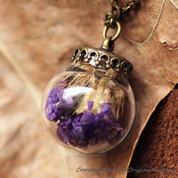 Nature Inspired Jewelry Real Dried Clover Necklace Graduation Gift (HM0136)