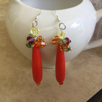 Colorful sea glass earrings-opaque Orange Beach glass earring-Swarovski Crystal seaglass earrings-Autum fall colors-925 silver earrings