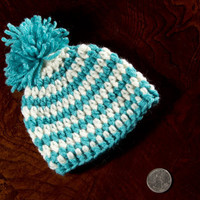 Baby boy hat, Beanie baby boy hat, Newborn Hat, Turquoise Hat, White Baby boy Hat, Warm winter boy Hat,