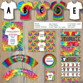 Instant Download - Tie Dye Rainbow Color T-Shirt Summer Craft Hipster Bohemian Editable Printable Party Package Event Invitation Template