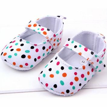 Cute Toddler Baby Girls Shoes Cotton Blend Polka Dot Soft Sole Baby Shoes Gifts
