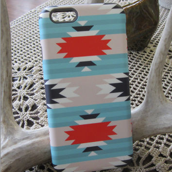 Aztec Pattern iPhone 6 Case| Samsung Galaxy Cell Case| Red Blue Cell Case | casebythatsnancy