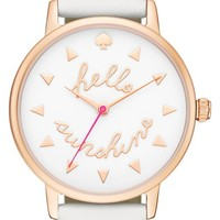 kate spade new york 'metro - sunshine' leather strap watch, 34mm | Nordstrom