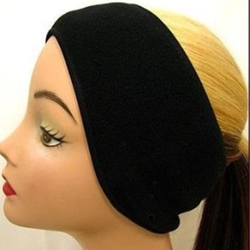 Winter Popular Neutral Mens Womens Fleece Earband Stretchy Headband Earmuffs Ear Warmers Black Hot