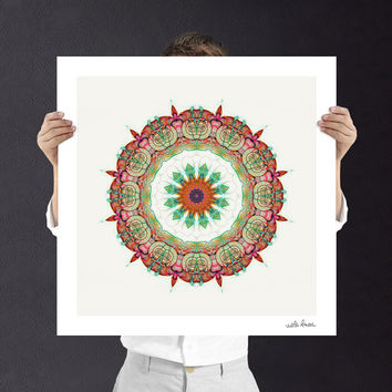 Sunflower Mandala Geometric Wall Art - Fine Art Print - Boho Style -  Buddhist Wall Art, Digital Download | Printable Unisex Baby Gift