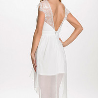 White Sheer Chiffon Cut Out Dress