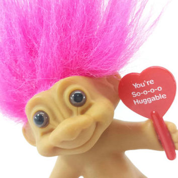 Vintage Valentines Day Troll, You're So Huggable, Red Heart, Pink Hair, Russ Troll Doll, 1990's, Love, Valentines Decoration, Gift