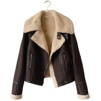 Women Winter Faux Suede Leather Motorcycle Jacket , XS, Brown