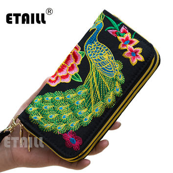 2016 Double Zipper Ethnic Boho Indian Thailand Embroidered Women Wallets Canvas Long Wallet Floral Purse Famous Brand Logo Purse