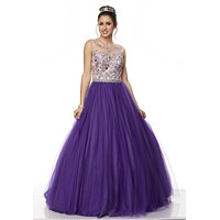 Juliet 360 Purple Applique Bodice Bateau Neckline Quinceanera Dress