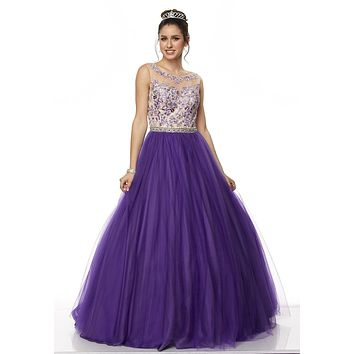acbed8866a4 Juliet 360 Purple Applique Bodice Bateau Neckline Quinceanera Dress