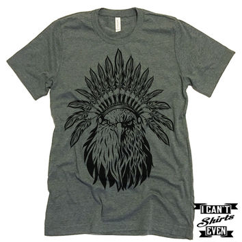 American Eagle Headdress. July 4th T shirt. Unisex Tee.