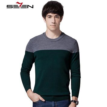 Winter Sweaters Men Pullovers Striped Patchwork Wool Cashmere Sweaters New Arrival Clothing