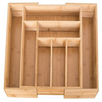 Evelots Utensil/Cutlery Drawer Organizer-100% Wood Bamboo-EXPANDABLE-8 Sections