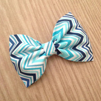 Chevron zigzag aqua navy blue fabric hair bow preppy rockabilly pinup