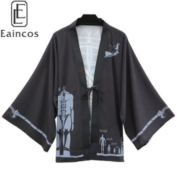 Cool Attack on Titan Anime  no  Scouting Legion Print Kimono Cosplay Halloween Party Costume Cloak Haori Chiffon Coat AT_90_11