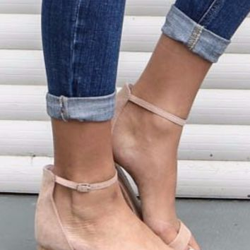 Sight Seeing Natural Peep Toe Heels