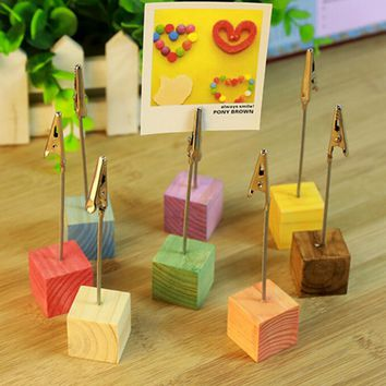Color Cube Stand Alligator Wire Desk Card Note Picture Memo Photo Clip Holder Table Wedding Party Place Favor Personalized Gift