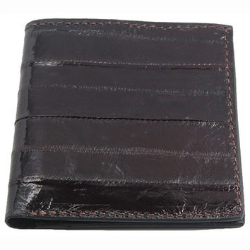 Eel Skin Hipster Wallet in Brown - Real Eel Leather - Free Shipping to USA