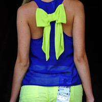 Dreaming Of You Tank: Royal/Chartreuse | Hope's