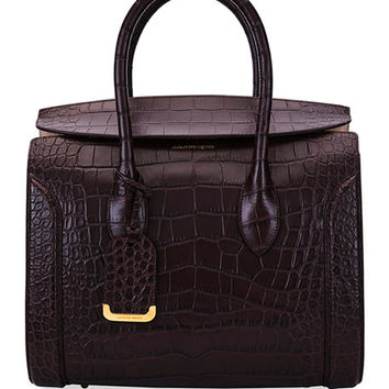 Alexander McQueen Heroine 35 Small Croc-Embossed Leather Tote Bag